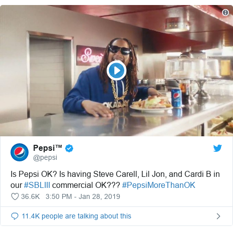 Twitter post by @pepsi: Is Pepsi OK? Is having Steve Carell, Lil Jon, and Cardi B in our #SBLIII commercial OK??? #PepsiMoreThanOK
