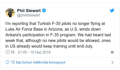 @phildstewart tarafından yapılan Twitter paylaşımı: I'm reporting that Turkish F-35 pilots no longer flying at Luke Air Force Base in Arizona, as U.S. winds down Ankara's participation in F-35 program. We had heard last week that, although no new pilots would be allowed, ones in US already would keep training until end-July.