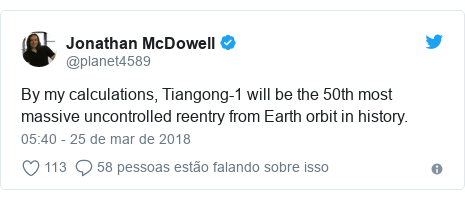 Twitter post de @planet4589: By my calculations, Tiangong-1 will be the 50th most massive uncontrolled reentry from Earth orbit in history.