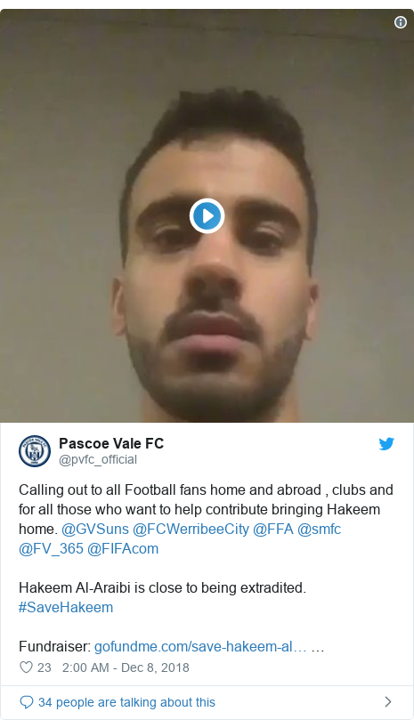 Twitter post by @pvfc_official: Calling out to all Football fans home and abroad , clubs and for all those who want to help contribute bringing Hakeem home. @GVSuns @FCWerribeeCity @FFA @smfc @FV_365 @FIFAcom Hakeem Al-Araibi is close to being extradited. #SaveHakeemFundraiser   …