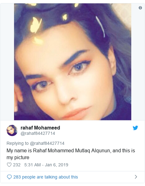Twitter post by @ rahaf84427714: Je m'appelle Rahaf Mohammed Mutlaq Alqunun et voici ma photo.