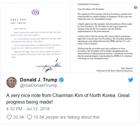 Donald Trump tweets 'very nice' letter from Kim Jong un   BBC News