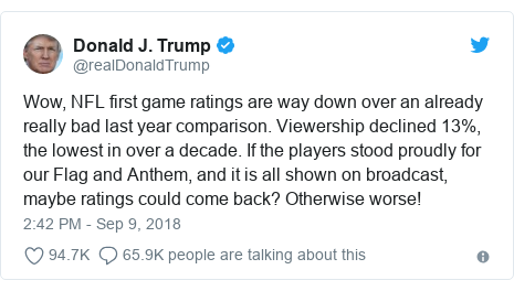 c10a3a2a7 NFL and Nike  Are protests hurting the game s ratings  - BBC News