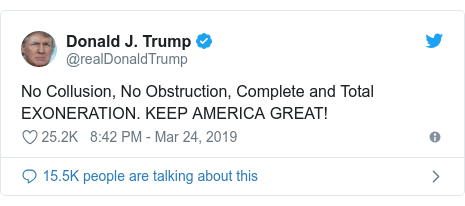 Image result for no collusion, no obstruction tweet