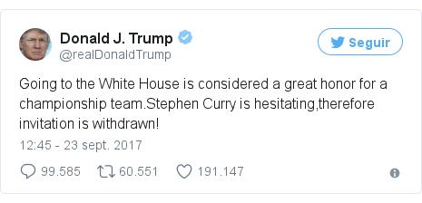 Publicación de Twitter por @realDonaldTrump