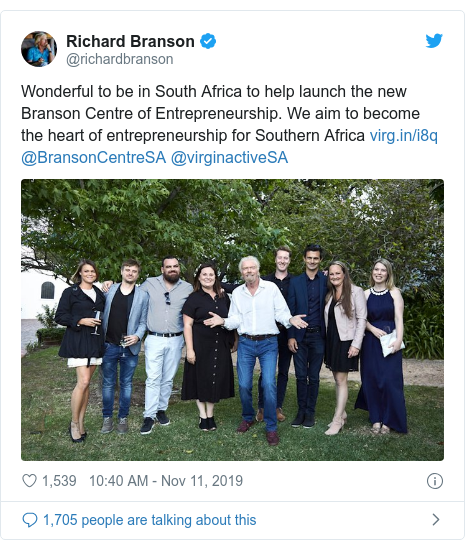 Twitter post by @richardbranson: Wonderful to be in South Africa to help launch the new Branson Centre of Entrepreneurship. We aim to become the heart of entrepreneurship for Southern Africa  @BransonCentreSA @virginactiveSA