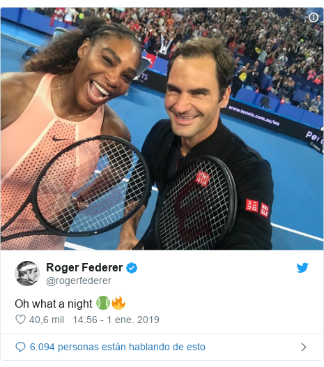 Publicación de Twitter por @rogerfederer: Oh what a night 🎾🔥
