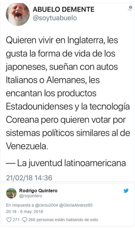 Publicación de Twitter por @roquintero: