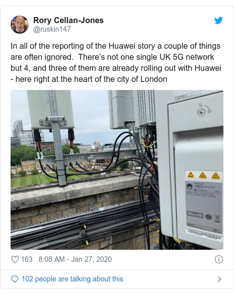 Twitter post by @ruskin147: In all of the reporting of the Huawei story a couple of things are often ignored.  There's not one single UK 5G network but 4, and three of them are already rolling out with Huawei - here right at the heart of the city of London