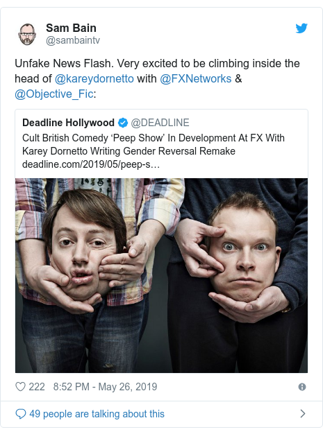 Twitter post by @sambaintv: Unfake News Flash. Very excited to be climbing inside the head of @kareydornetto with @FXNetworks & @Objective_Fic