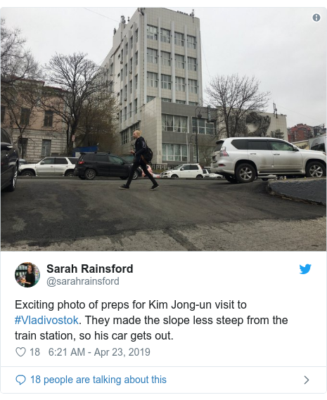 Twitter post by @sarahrainsford: Exciting photo of preps for Kim Jong-un visit to #Vladivostok. They made the slope less steep from the train station, so his car gets out.
