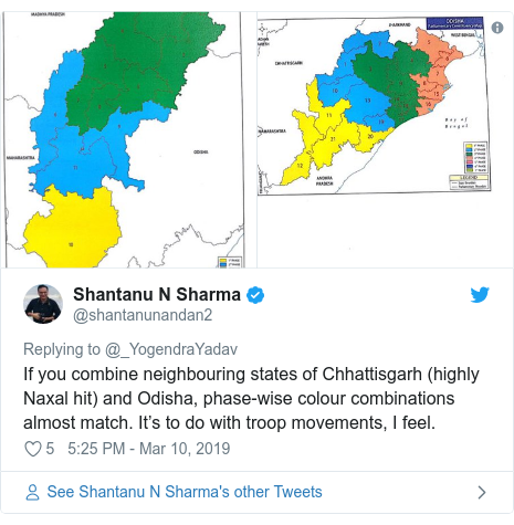 Twitter post by @shantanunandan2: If you combine neighbouring states of Chhattisgarh (highly Naxal hit) and Odisha, phase-wise colour combinations almost match. It's to do with troop movements, I feel.