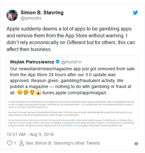 Twitter post by @simonbs: Apple suddenly deems a lot of apps to be gambling apps and remove them from the App Store without warning. I didn't rely economically on Gifferent but for others, this can affect their business.