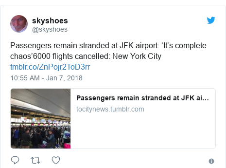 Twitter post by @skyshoes: Passengers remain stranded at JFK airport  'It's complete chaos'6000 flights cancelled  New York City