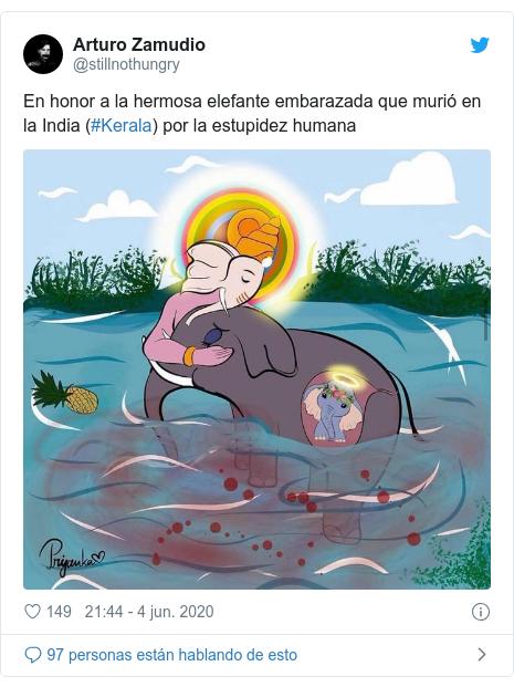 Publicación de Twitter por @stillnothungry: En honor a la hermosa elefante embarazada que murió en la India (#Kerala) por la estupidez humana