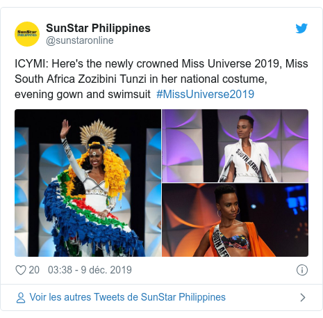 Twitter publication par @sunstaronline: ICYMI Here's the newly crowned Miss Universe 2019, Miss South Africa Zozibini Tunzi in her national costume, evening gown and swimsuit #MissUniverse2019