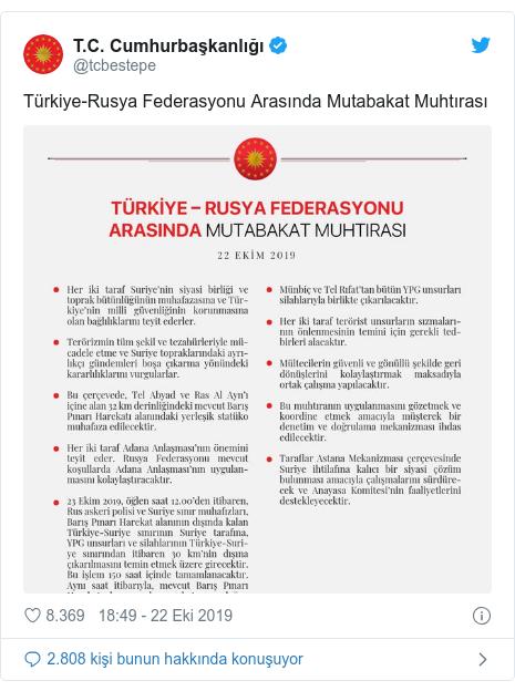 @tcbestepe tarafından yapılan Twitter paylaşımı: Türkiye-Rusya Federasyonu Arasında Mutabakat Muhtırası