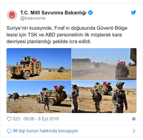 @tcsavunma tarafından yapılan Twitter paylaşımı: Suriye'nin kuzeyinde, Fırat'ın doğusunda Güvenli Bölge tesisi için TSK ve ABD personelinin ilk müşterek kara devriyesi planlandığı şekilde icra edildi.