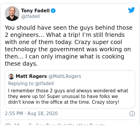 Twitter post by @tfadell: You should have seen the guys behind those 2 engineers… What a trip! I'm still friends with one of them today. Crazy super cool technology the government was working on then… I can only imagine what is cooking these days.