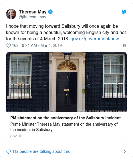 Twitter post by @theresa_may: I hope that moving forward Salisbury will once again be known for being a beautiful, welcoming English city and not for the events of 4 March 2018.