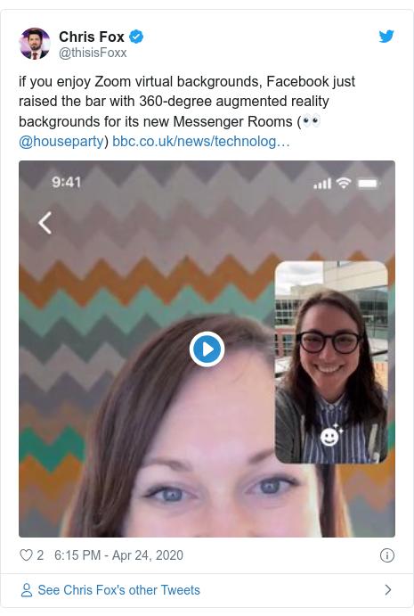 @ThisisFoxx tarafından Twitter yayını: Zoom sanal arka planlarından hoşlanıyorsanız, Facebook yeni Messenger Odaları için 360 derecelik artırılmış gerçeklik arka planlarıyla çıtayı yükseltti (ho @houseparty)