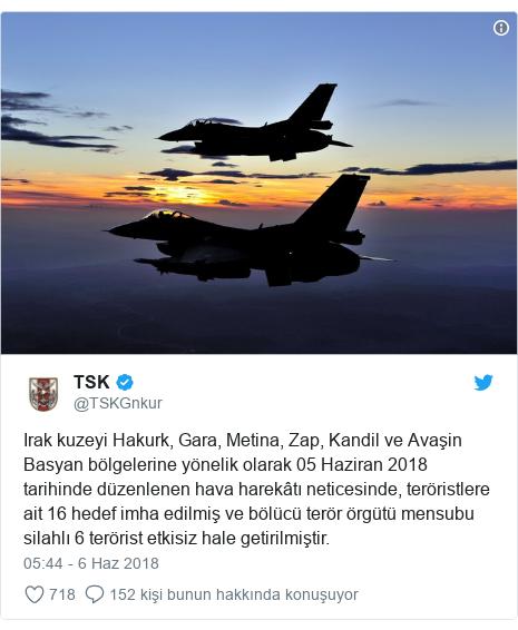 @TSKGnkur tarafından yapılan Twitter paylaşımı: Irak kuzeyi Hakurk, Gara, Metina, Zap, Kandil ve Avaşin Basyan bölgelerine yönelik olarak 05 Haziran 2018 tarihinde düzenlenen hava harekâtı neticesinde, teröristlere ait 16 hedef imha edilmiş ve bölücü terör örgütü mensubu silahlı 6 terörist etkisiz hale getirilmiştir.