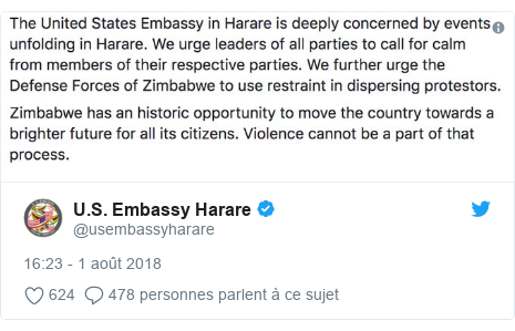 Twitter publication par @usembassyharare: