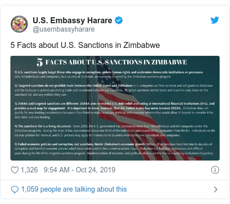 Twitter post by @usembassyharare: 5 Facts about U.S. Sanctions in Zimbabwe