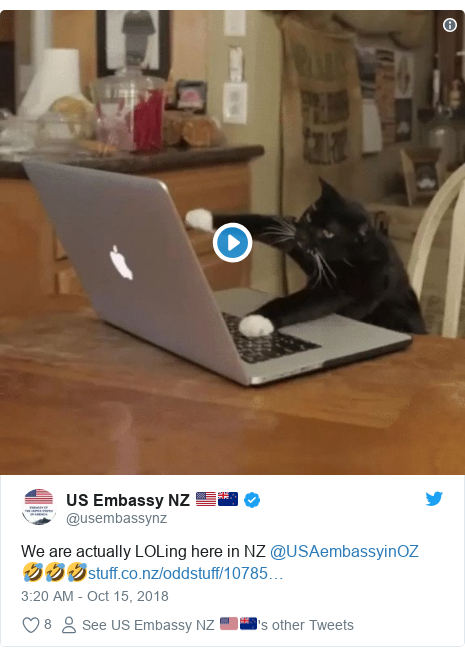Twitter post by @usembassynz: We are actually LOLing here in NZ @USAembassyinOZ 🤣🤣🤣