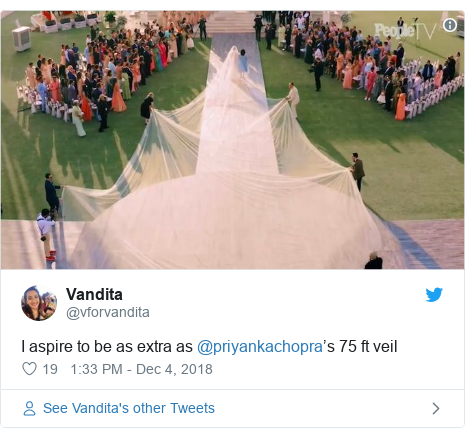 Twitter හි @vforvandita කළ පළකිරීම: I aspire to be as extra as @priyankachopra's 75 ft veil
