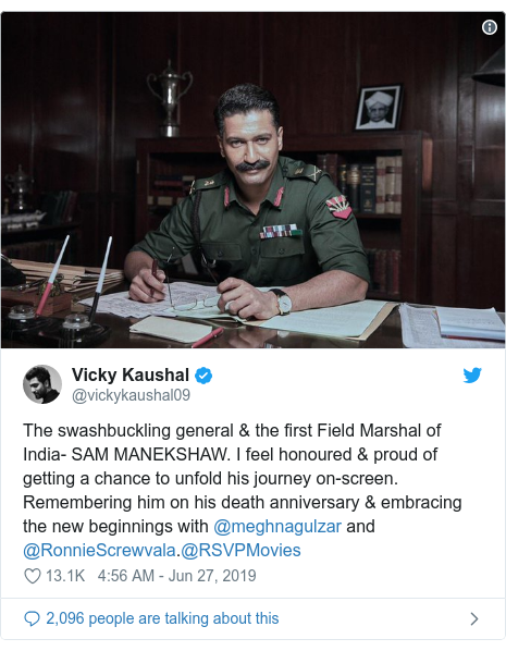 Twitter post by @vickykaushal09: The swashbuckling general & the first Field Marshal of India- SAM MANEKSHAW. I feel honoured & proud of getting a chance to unfold his journey on-screen. Remembering him on his death anniversary & embracing the new beginnings with @meghnagulzar and @RonnieScrewvala.@RSVPMovies