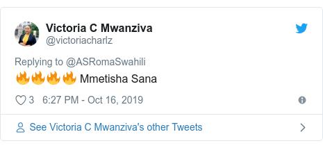 Ujumbe wa Twitter wa @victoriacharlz: 🔥🔥🔥🔥 Mmetisha Sana