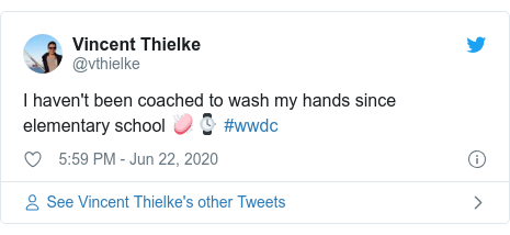 Twitter post by @vthielke: I haven't been coached to wash my hands since elementary school 🧼⌚️ #wwdc