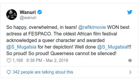 Twitter post by @wanuri: So happy, overwhelmed, in tears! @rafikimovie WON best actress at FESPACO. The oldest African film festival acknowledged a queer character and awarded @S_Mugatsia for her depiction! Well done @S_Mugatsia!!! So proud! So proud! Queerness cannot be silenced!