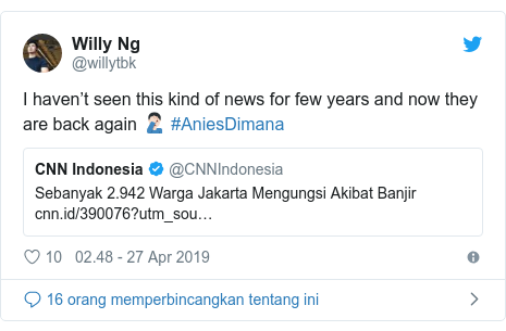 Twitter pesan oleh @willytbk: I haven't seen this kind of news for few years and now they are back again 🤦🏻‍♂️ #AniesDimana