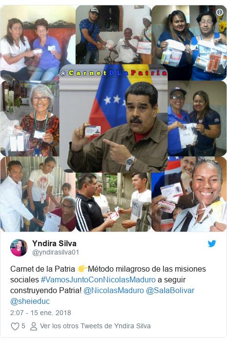 Publicación de Twitter por @yndirasilva01: Carnet de la Patria 👉Método milagroso de las misiones sociales #VamosJuntoConNicolasMaduro a seguir construyendo Patria! @NicolasMaduro @SaIaBolivar @sheieduc