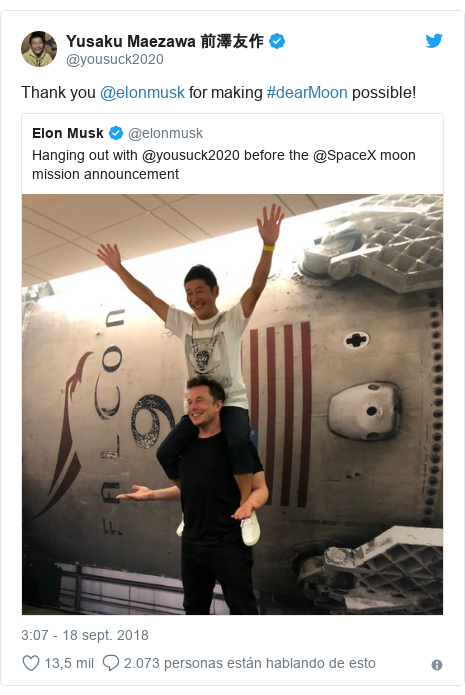 Publicación de Twitter por @yousuck2020: Thank you @elonmusk for making #dearMoon possible!