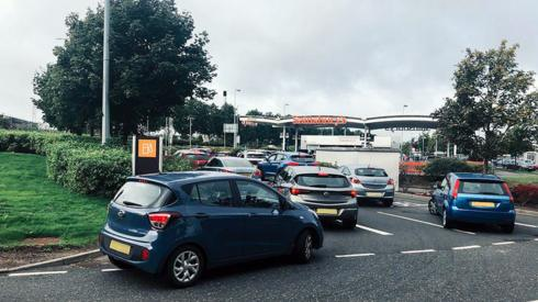 Drivers queue for fuel at a forecourt in Braehead