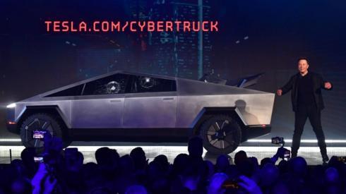 Elon Musk at the launch of Tesla's Cybertruck last year