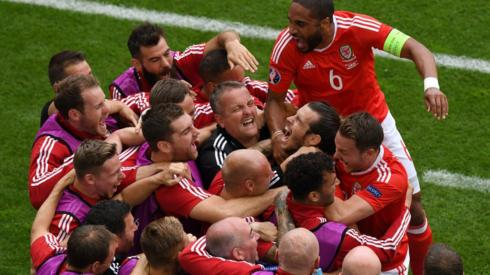 Gareth Bale of Wales celebrates scoring his team's first goal at Euro 2016