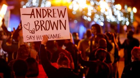 Image shows a protest over Mr Brown's death