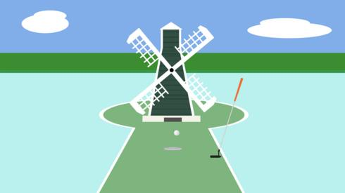Crazy golf windmill illustration