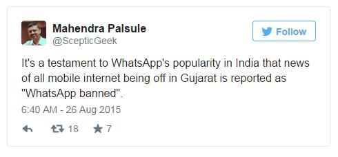 Tweet: Whatsapp is mobile internet for most of India