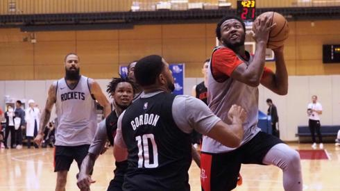 Houston Rockets players in training in Tokyo
