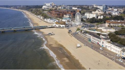 An aerial view of an empty Bournemouth beach