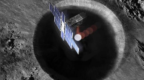 Artist's concept shows a view from above the Lunar Flashlight spacecraft, a six-unit CubeSat