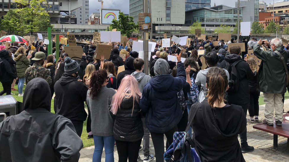 Hundreds of anti-racism protestors in Piccadilly Gardens