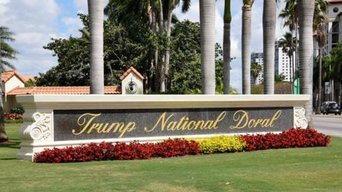 Trump National Doral sign of the golf resort owned by US President Donald Trump's company in Miami,