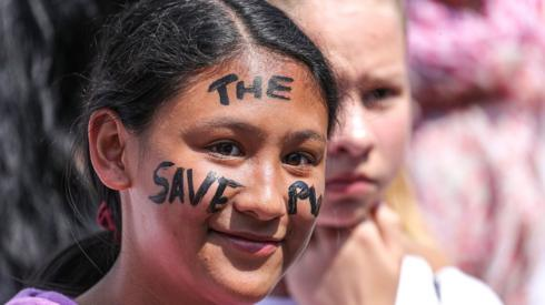 Students take part in a demonstration against climate change, in Frankfurt, Germany