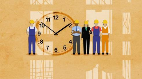 Graphic of workers and a big clock